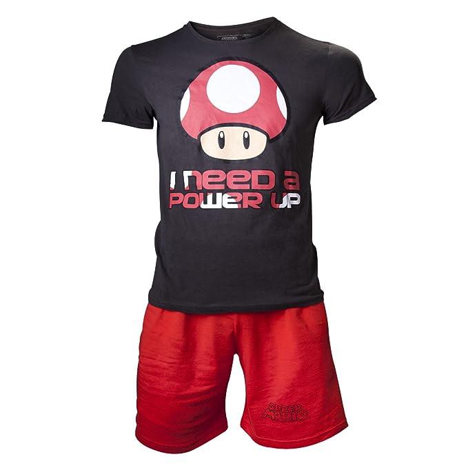 Nintendo Super Mario Bros. I Need A Power Up, Pijama para Hombre, Negro