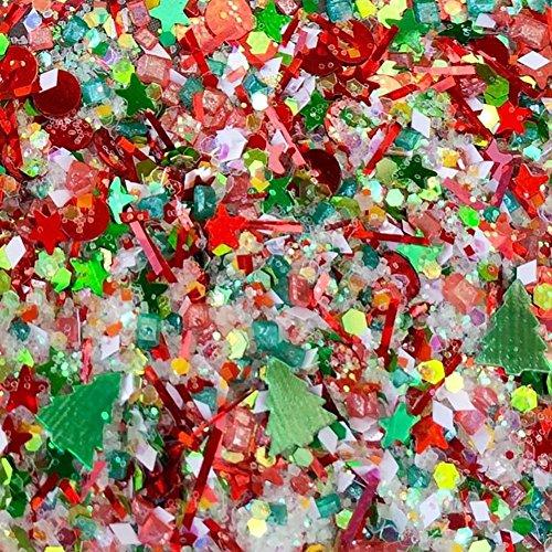 "Custom & Fancy Approx 0.5 Teaspoon of Small ""Nail Art Glitter"" Confetti Made of Premium Mylar w/ Holiday Season Christmas Tree Festive Sparkle Yule Mix Design [Red, Green, Gold & White Colors] Seasons Teaspoon"