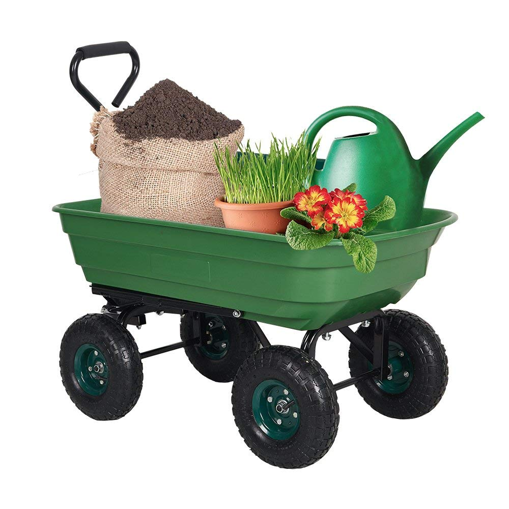 Dporticus Garden Dump Cart Wagon Carrier with Steel Frame and Pneumatic Tires 550-Pound Capacity Green by Dporticus