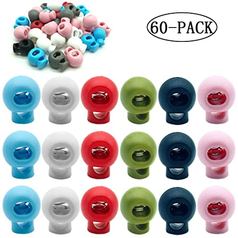 CKANDAY 60 Piezas de plástico con Cierre de cordón, Resorte de Extremo Orificio único Toggle