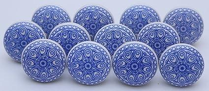 Manopole Indian lotto di 10 blu e bianco pomelli in ceramica ...