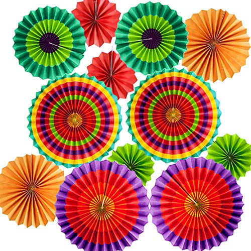 Set of 12 Vibrant Colorful Hanging Paper Fans Rosettes Party Decorations Fiesta Party Supplies Photo Props for Cinco De Mayo Carnival Mexican Kids Party Birthday Baby Shower, Multi-Color