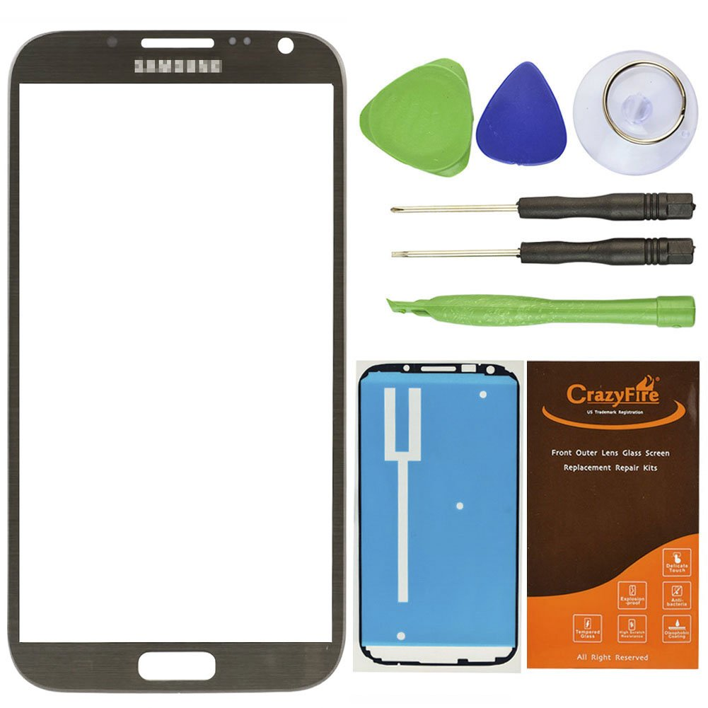 CrazyFire® Free Shipping Titanium Grey Front Top Outer Lens Glass Screen Cover Replacement Repair Kit For Samsung Galaxy Note II Note 2 GT-N7100 N7105 I317 T889 L900 I605+Adhesive+Tools+Instruction Manual+CrazyFire Box