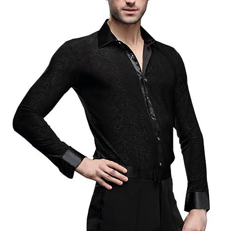 23510a7ae7d3 Amazon.com: Hao Run Men Dance Shirt Ballroom Modern Salsa Samba Smooth Latin  Floral Tango Black: Sports & Outdoors