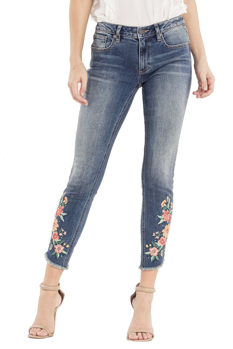Miss Me Give Crops Mid Rise Ankle Skinny Jeans Floral Embroidered Frayed Bottom M2111AK (30)