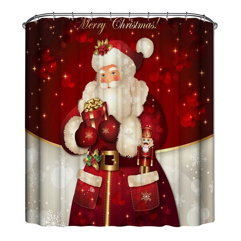 Weihnachts Wasserdicht Bad Duschvorhang Polyester Stoff Weihnachtsmann Dekor GE