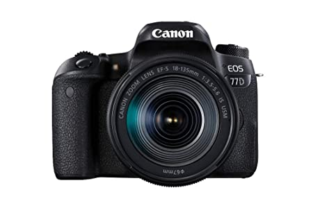 Canon EOS 77D - Cámara réflex de 24.2 MP (vídeo Full HD, WiFi, Bluetooth) Color Negro - Kit Cuerpo con Objetivo EF-S 18-135 IS USM