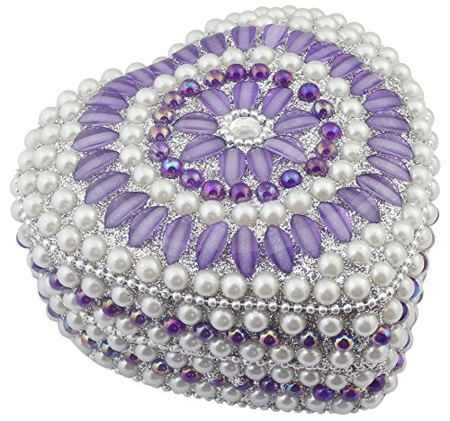 Handmade Decorative Box Purple Heart Shape Beaded Jewelry Box for Necklace, Earrings, Ring -4×3.5×2