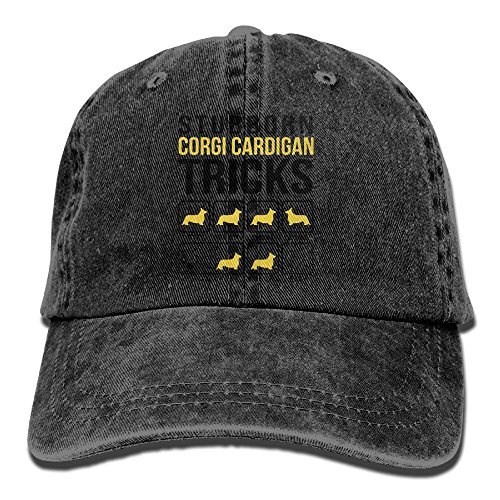 Richard Stubborn Corgi Cardigan Tricks Adult Cotton Washed Denim Leisure Hat Adjustable Black