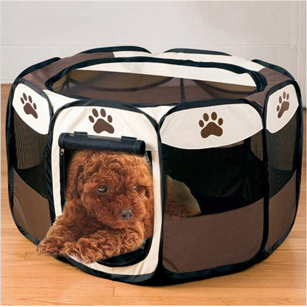 Wuwenw Portable Folding Pet Tent Play Pen Dog Sleeping Fence Puppy Kennel Folding Exercise Play Foldable Pet Dog House Outdoor Tent Bag 72 (L) X 72 (W) X 45 (H) (Cm)