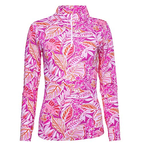 IBKUL Casey Print Long Sleeve Mock Neck - 10284 Pink Orange