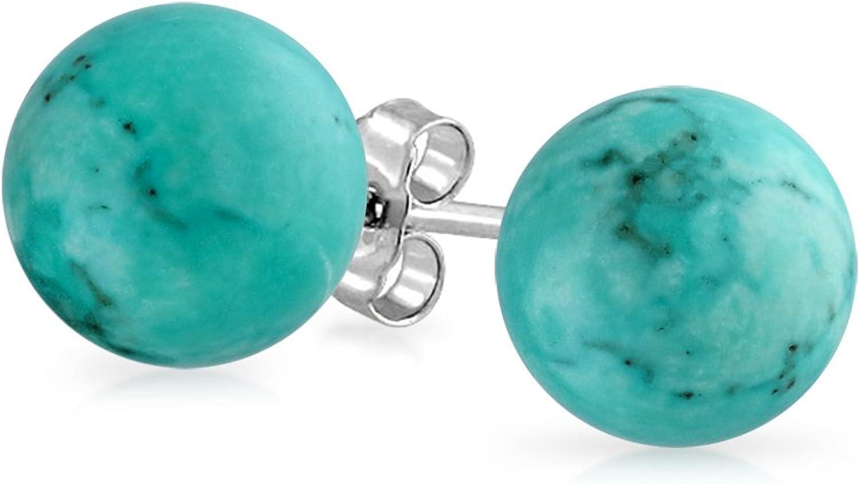 Piedras Preciosa Turquesa Estabilizada Simple Balón Redondo Pendiente De Boton Para Mujer 925 Plata De Ley 925 7Mm