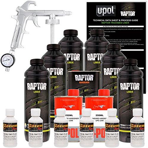 U-POL Raptor GM White Urethane Spray-On Truck Bed Liner Kit w/FREE Custom Coat Spray Gun with Regulator, 6 Liters