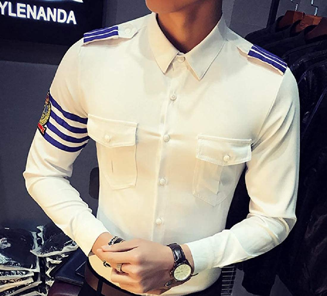 YUNY Mens Original Fit Tactical Point Collar No-Iron Woven Shirt White XS