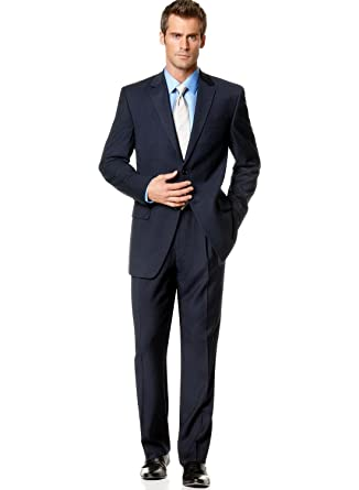 IZOD Men's Navy Pinstripe 2-Button Suit with Pleated Pants (43R
