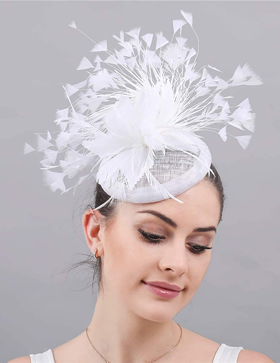 Z/&X Sinamay Feather Fascinators for Women Headband Clip Cocktail Tea Party Pillbox Hat Royal Ascot