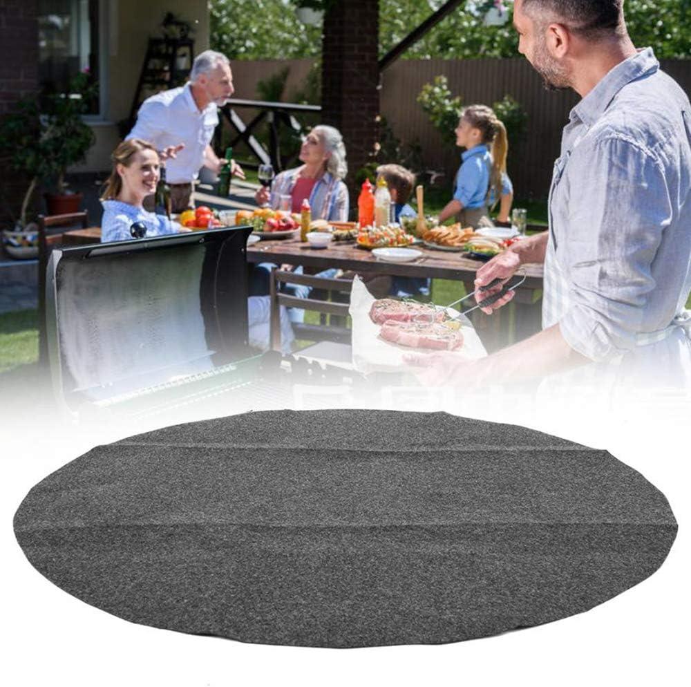 Tapis de sol résistant à la chaleur, résistant au feu et au gaz, résistant à la chaleur, réutilisable, facile à nettoyer pour extérieur, terrasse. Rond (68 x 68 cm).
