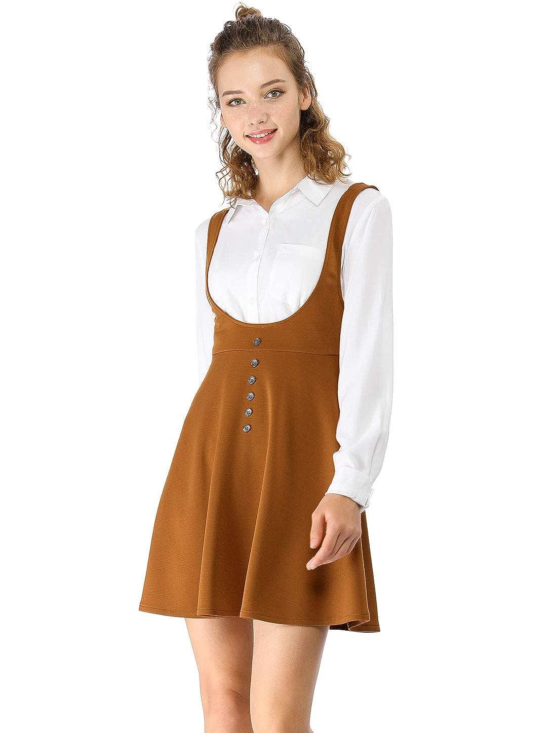 Allegra K Womens Solid Button Decor Flared Hem Overall Dress Suspender Skirt