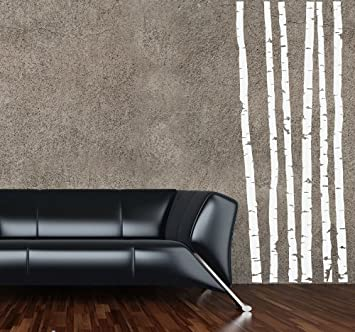 """Birch Tree Trunk Wall Decal 60"""" tall White"""