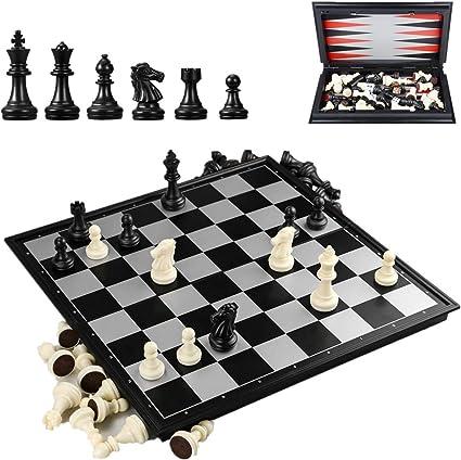DQTYE tablero de ajedrez 3 en 1 portátil plegable magnético de viaje para niños y adultos, 9.8 x 9.8 x 0.8 pulgadas: Amazon.es: Bebé
