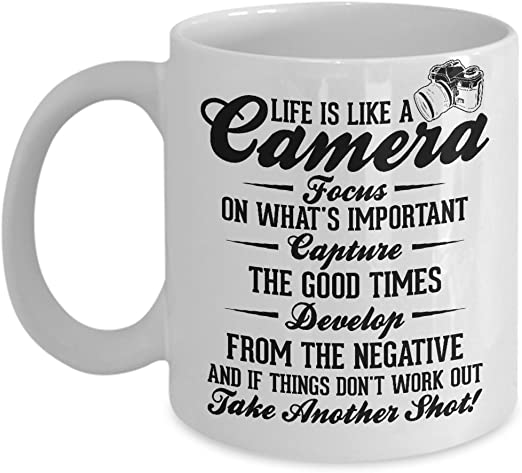 Photography Coffee Mug Life Is Like A Camera Tea Cup Gift For Photographer Kitchen Dining Amazon Com
