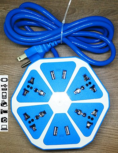 Smart 4-Outlet with 4-USB Hexagon Creative Power Strip (Blue) - 3
