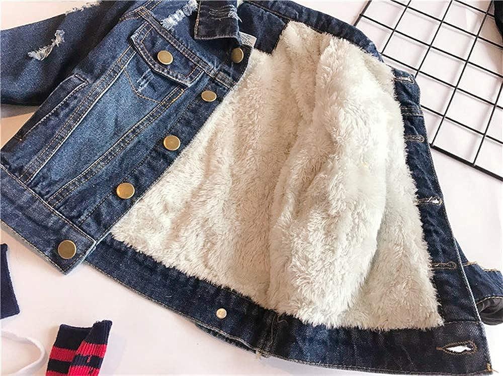 BaronHong Girls Boys Denim Trucker Cotton Warm Velvet Jacket