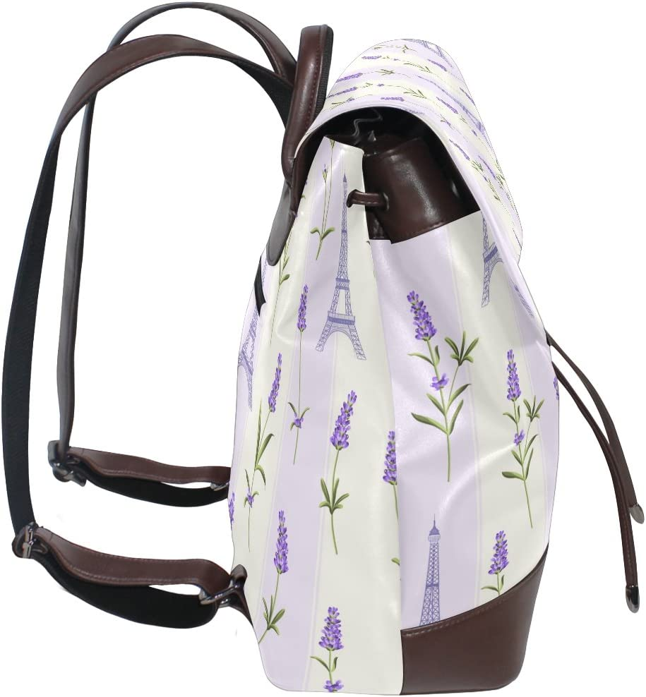KUWT Lavender Flowers and Eiffel Tower PU Leather Backpack Photo Custom Shoulder Bag School College Book Bag Rucksack Casual Daypacks Diaper Bag for Women and Girl