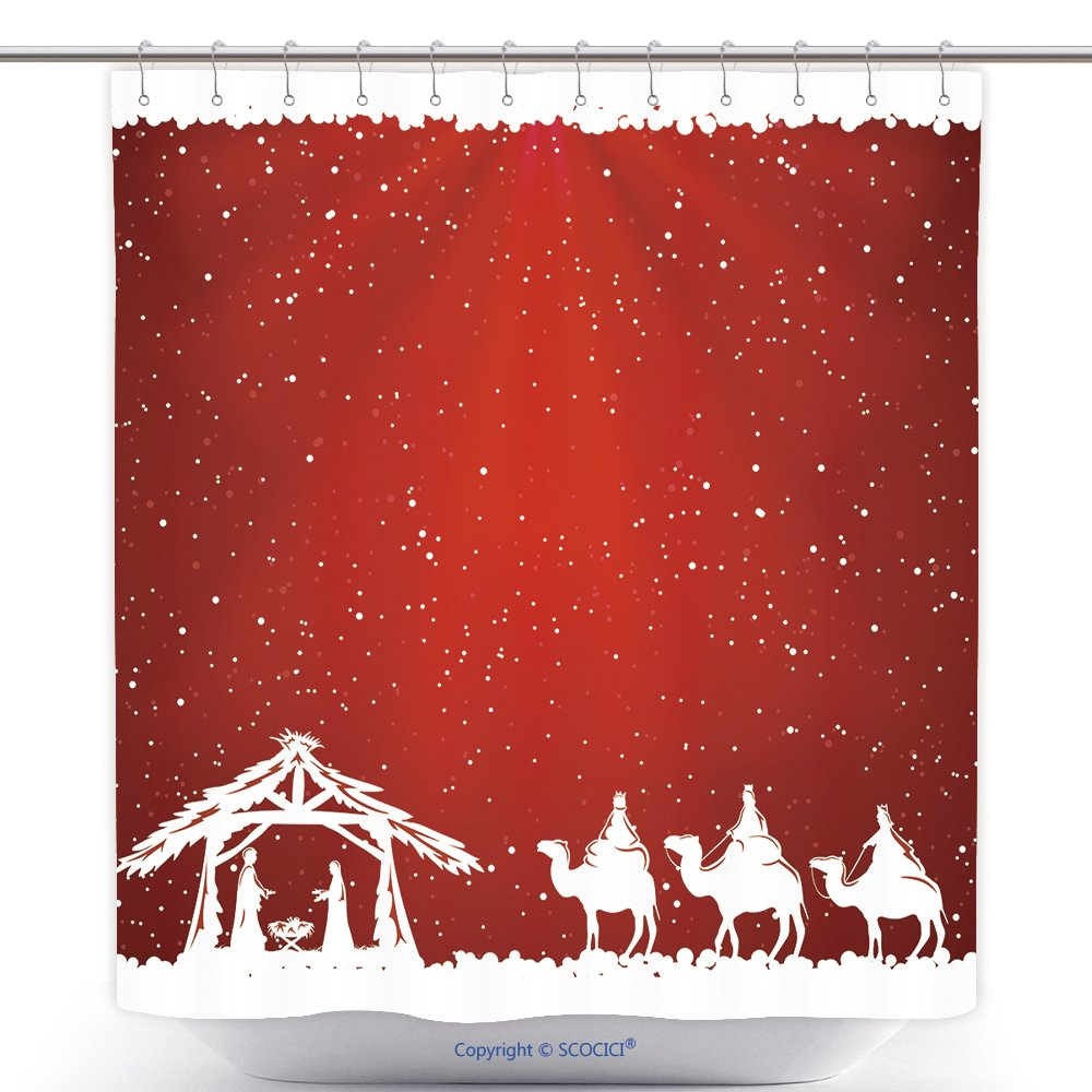 Fun Shower Curtains Christian Christmas Scene On Red Background Illustration 324278123 Polyester Bathroom Shower Curtain Set With Hooks by