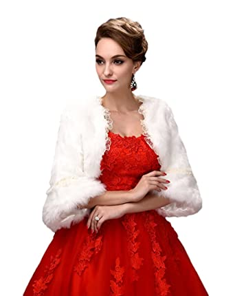 Oncefirst Women S Faux Fur Wrap Cape Shawl For Wedding Dress White
