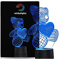 Unique Night Light Teddy Bear 7 Color LED Does Not Get Hot By rainbolights Ideal In A Nursery or bedroom a Great Gift Idea For Girls or Mom