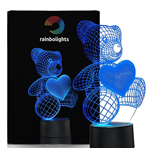 Unique Night Light Teddy Bear a nice XMAS gift idea for Couples Coworkers girls or ladies 7 Color LED Does Not Get Hot By rainbolights Ideal In A Nursery or bedroom a Great Gift Idea For Girls or Mom Best Christmas Gift Ideas