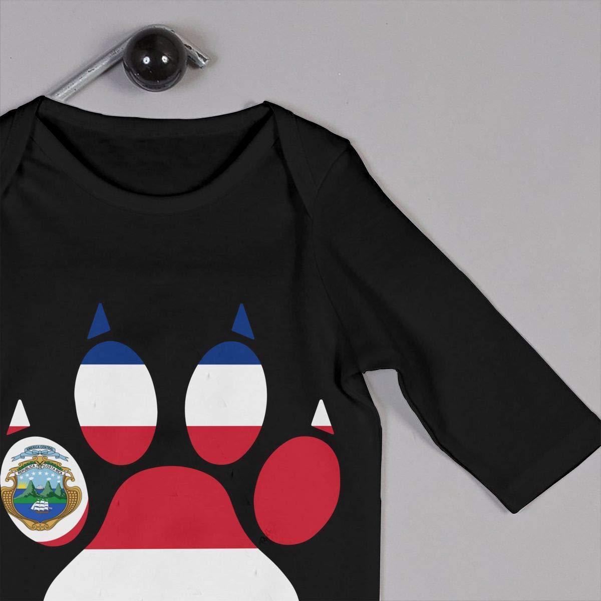 Baby Girls Long Sleeve Jumpsuit Costa Rica Flag Dog Paw Kid Pajamas