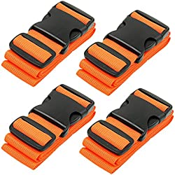 BlueCosto Luggage Strap Suitcase Straps Belts Travel Accessories, 4-Pack, Orange