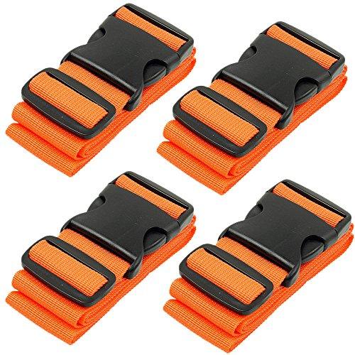 BlueCosto Luggage Strap Suitcase Straps Belts Travel Accessories, 4-Pack, Orange