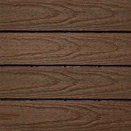 NewTechWood US-QD-ZX-IP Ultrashield Naturale Outdoor Composite Quick Deck Tile (10 Case), 1' x 1', Brazilian -