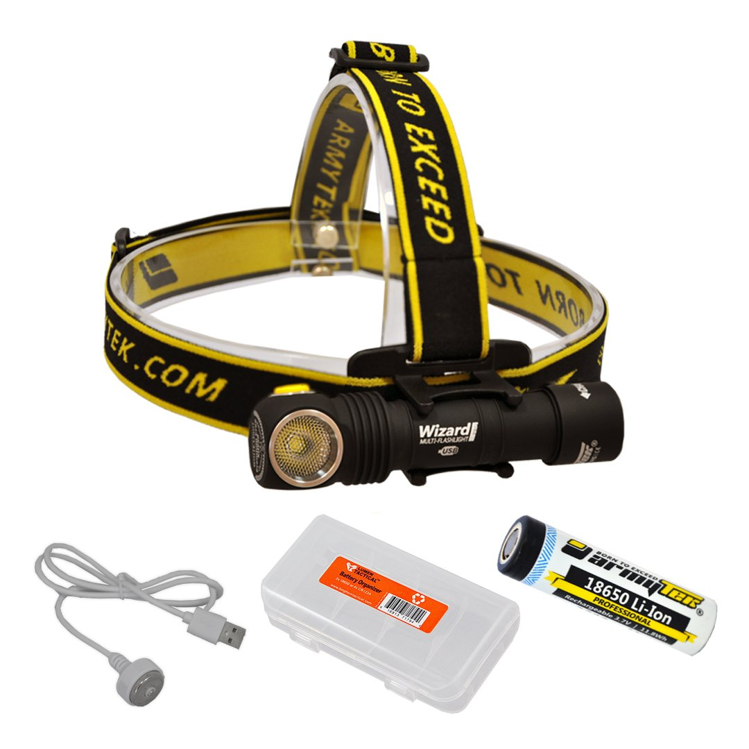 ArmyTek Wizard Pro v3 2300 Lumen Magnetic USB Rechargeable LED Headlamp and BONUS LumenTac Battery Organizer by Armytek (Image #1)