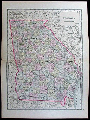 Georgia Atlanta Savannah Dekalb Cobb counties 1886 Bradley old antique color map