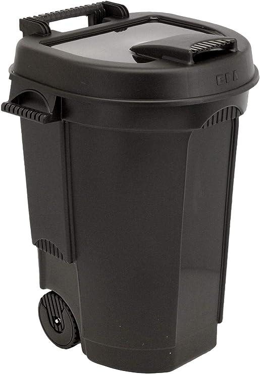 Spetebo - Cubo de basura con tapa para jardín (110 L), color negro: Amazon.es: Jardín