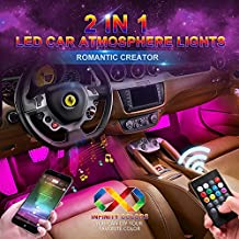 wsiiroon Car LED Strip Light, Upgraded Remote and APP Two-in-one Control Multicoloured Music Car Interior Lights, 4pcs 48 LED, Sound Active Function, Waterproof, Multi-Mode Change(DC 12V)