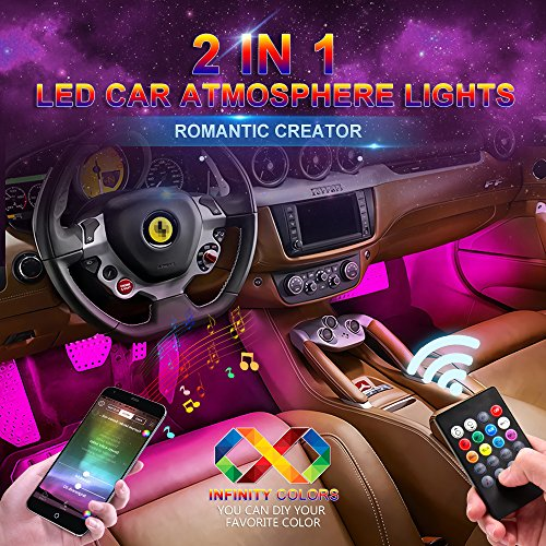 Active Remote (wsiiroon Car LED Strip Light, Upgraded Remote and APP Two-in-one Control Multicoloured Music Car Interior Lights, 4pcs 48 LED, Sound Active Function, Waterproof, Multi-Mode Change(DC 12V))