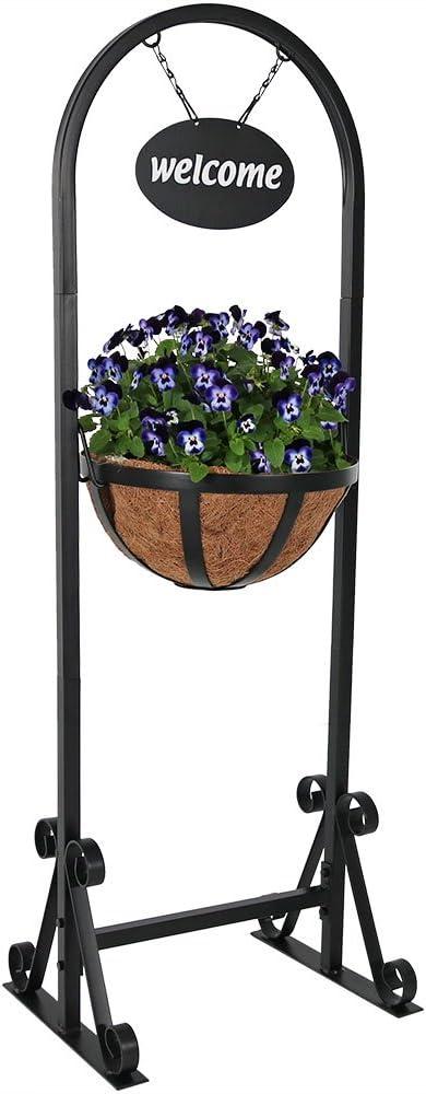 Sunnydaze Hanging Basket Planter Stand with Metal Welcome Sign, Indoor Outdoor Plant Holder, 45 Inch