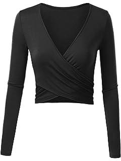 bdb02d6cdd10 ENIDMIL Women's Deep V Neck Long Sleeve Crop Tops Slim Fit Cross Wrap  Bodycon Shirt
