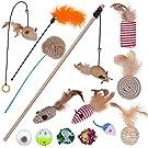 Ninonly 猫 おもちゃ 猫じゃらし 猫 おもちゃ 羽のおもちゃ 竿 ネズミおもちゃ 猫 蹴り おもちゃ14点セット 猫 おもちゃ 人気 一人遊び 運動不足解消 (マルチカラー1)