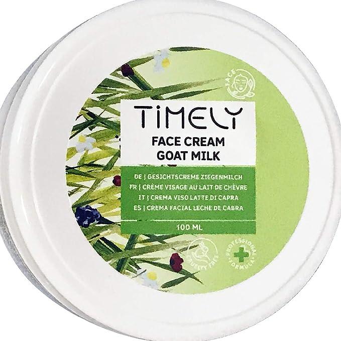 Timely - Crema facial hidratante de leche de cabra con proteínas de leche y vitamina E, 100 ml