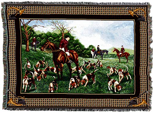 Pure Country Weavers | FoxHunt Woven Horses and Hounds Tapestry Throw Blanket with Fringe Cotton USA 72x54