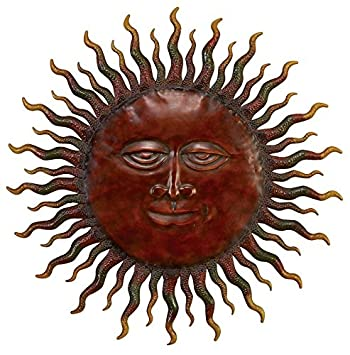 deco 79 57752 metal rising sun with cosmic rays wall decor 30 inch - Sun Wall Decor