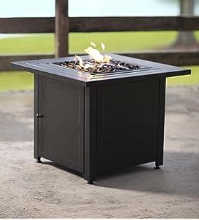 slatted propane fire pit with black fireglass