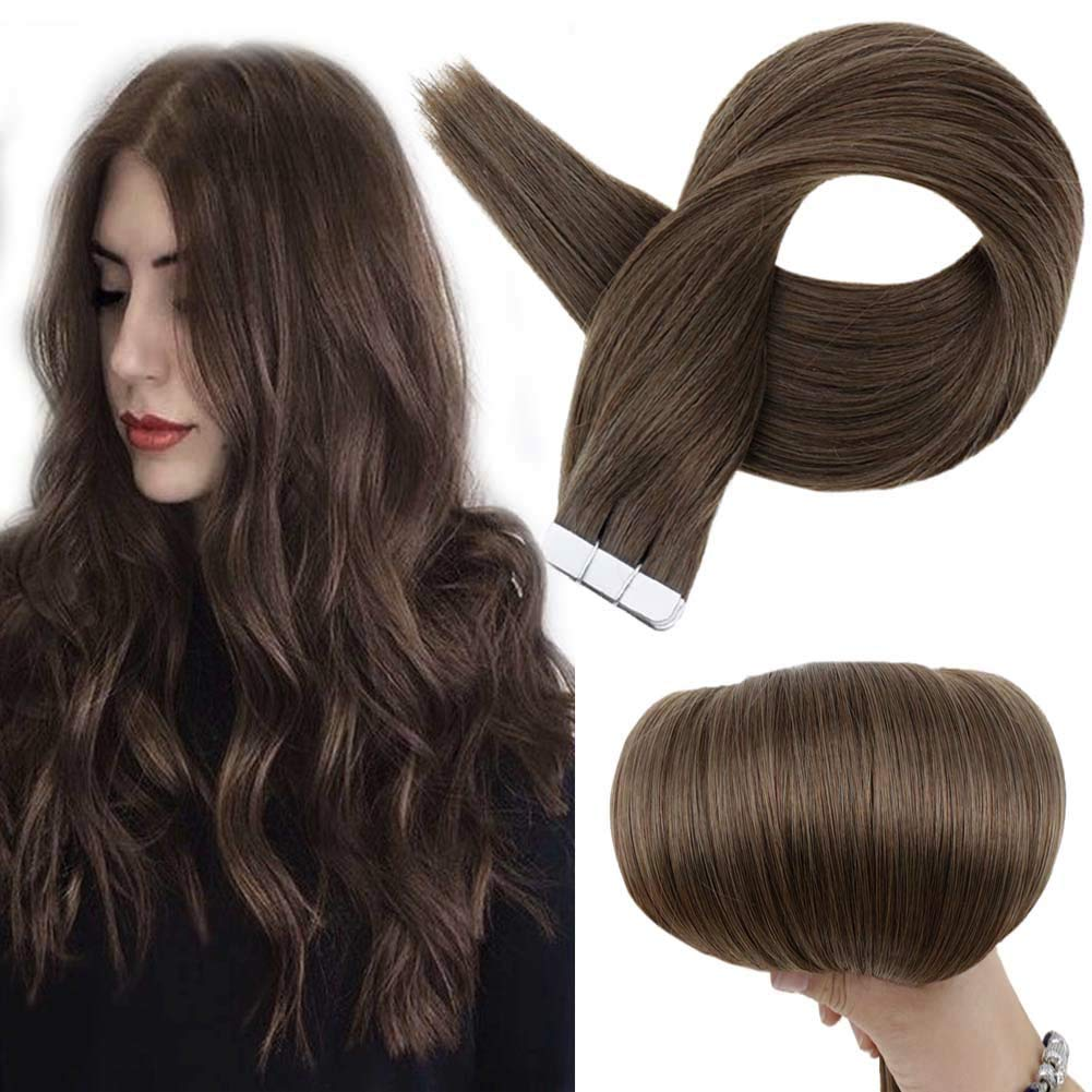 Full Shine 16Inch Tape Hair Extensions Human Hair Color #6 Chestnut Brown Glue On Remy Not Virgin Hair Silky Straight Texture 50G/Pack 20Pcs Take Well To Dye/Heat Can Be Curled/Styled