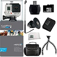 GoPro HERO3+ Silver Edition Camera + SSE Accessory Kit Includes: 64GB Micro SD Card, USB Memory Card Reader, Replacement Battery, Charger, Case, Gripster Tripod & Monopod
